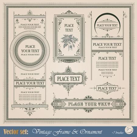 Ilustración de Frame, border, ornament and element in vintage style - Imagen libre de derechos