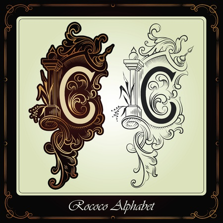 Illustration pour capitals and initials in the rococo style hand-made on the basis of ancient manuscripts - image libre de droit