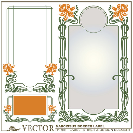Border style labels on different topics with flower narcissus for decoration and design