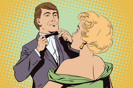 Stock illustration. People in retro style pop art and vintage advertising. Proud guy adjusting his bow-tie. Girl terrified by this.
