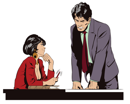 Illustration pour Stock illustration. People in retro style. Presentation template. Woman is flirting with a guy at work. - image libre de droit