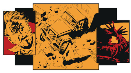 Illustration pour Stock illustration. Truck accident. Frightened man. - image libre de droit