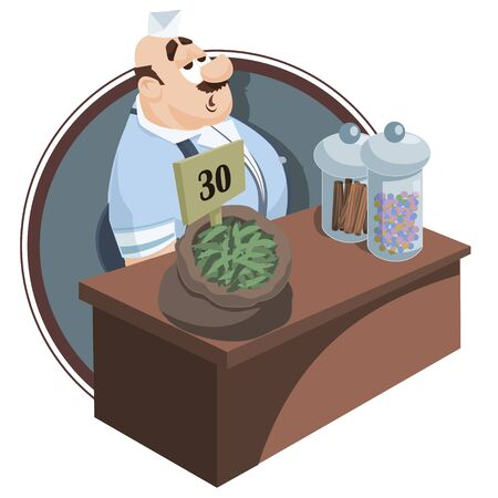 Illustration for Vector. Stock illustration. Funny little people. Salesman behind counter. Seller at store. - Royalty Free Image
