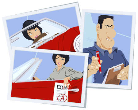 Illustration for Beautiful woman at driving lesson. Driver's license. Illustration concept for mobile website and internet development. - Royalty Free Image