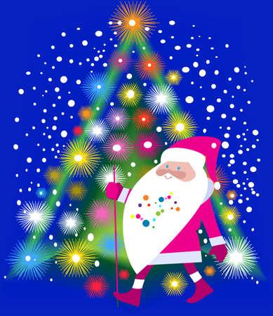 Illustration pour Jolly Santa Claus and Christmas tree shining ornate - image libre de droit