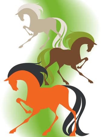 Image of four  silhouettes thoroughbred horses on a green background