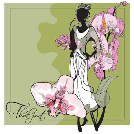 Ilustración de Abstract sketch of a model in floral  dresses with a orchid print - Imagen libre de derechos