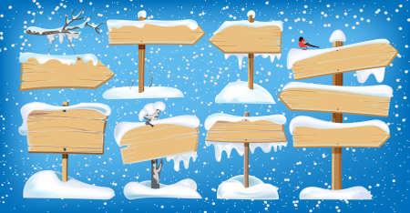 Illustration pour Set of wooden street signs in the snow - image libre de droit