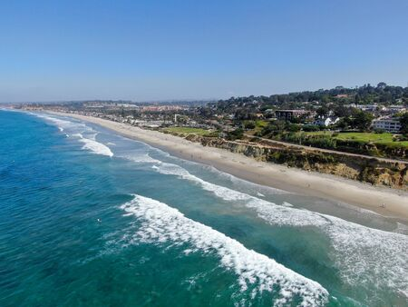 Photo for Aerial view of Del Mar coastline and beach, San Diego County, California, USA. Pacific ocean with long beach and small wave - Royalty Free Image