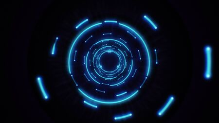 Photo pour Pink and purple abstract light circles seamless looping. Animation of an abstract background tunnel loop with shiny light circles. Futuristic illumination neon space. Abstract circles neon tunnel. - image libre de droit