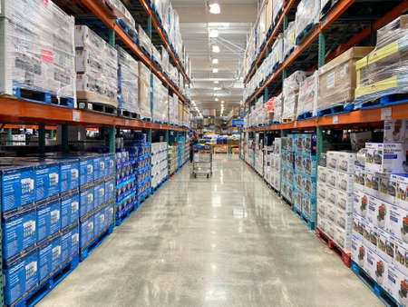 Photo for Ailse in a Costco store different products. Costco Wholesale Corporation is the largest membership-only warehouse club in US. . San Diego, USA, April 4th, 2020 - Royalty Free Image