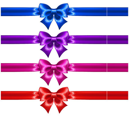 Vector illustration - festive bows with glitter and ribbons