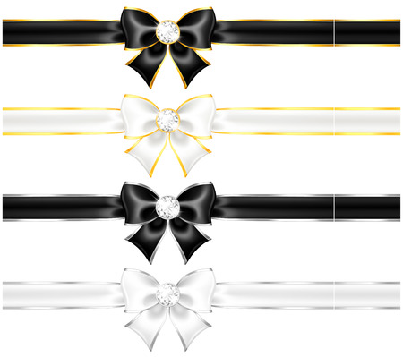 Vector illustration - white and black bows with diamonds gold edging and ribbons