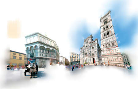 The Duomo square in Florence in a near-watercolor illustration.