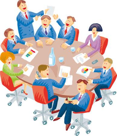 Illustration pour Meeting room snapshot with a lot of individual behaviors - image libre de droit