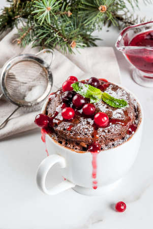 Winter, fall healthy breakfast or snack. The idea of a quick treat for Christmas. Chocolate mug cupkake in ceramic cup, with cranberry and sauce, powdered sugar. White marble table, copy space