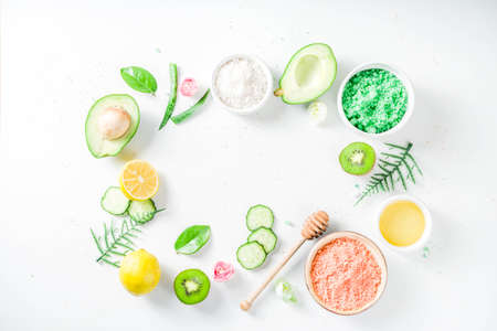 Photo for Natural and organic cosmetic concept. Spa and aromatherapy, Homemade cosmetics ingredients, extracts for natural beauty skincare product honey, lemon, almond, kiwi, cucumber, aloe vera, salt, yogurt - Royalty Free Image