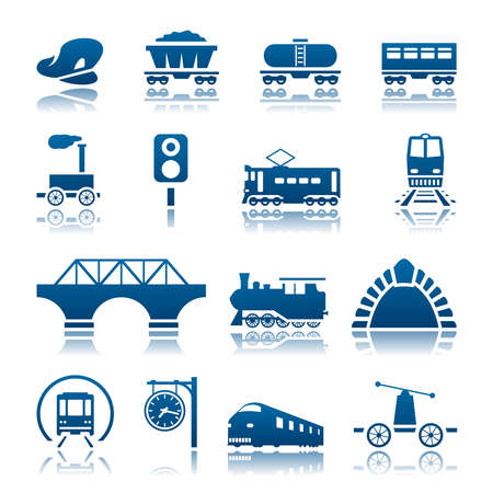 Illustration pour Railway icon set - image libre de droit
