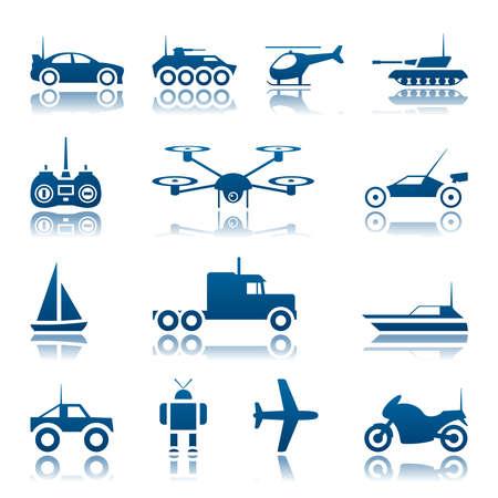 Remote control toys icon set