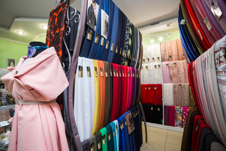 18 of December, 2017 - Vinnitsa, Ukraine. Various textiles for sale in fabric shop, drapery store.