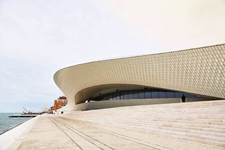 Foto per Lisbon, Portugal - 12 of December, 2018: Maat entrance, Museum of Art, Architecture and Technology, Amanda Levete, outward looking with organic curvy shapes. - Immagine Royalty Free