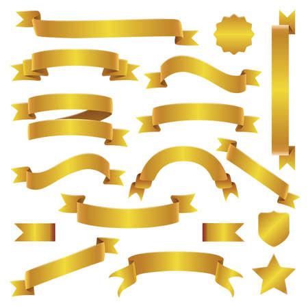 Illustration pour Golden Ribbons and Banners Set - image libre de droit