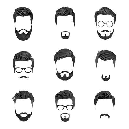 Illustration for Hipster Hair, Mustaches and Beards. Hipster Style Vector Illustration. - Royalty Free Image