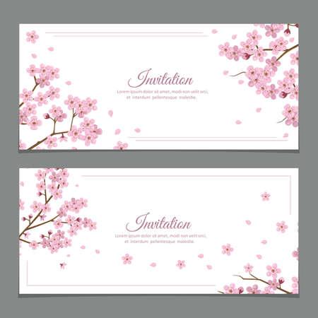 Illustration pour Sakura Flowers Invitation Cards - image libre de droit