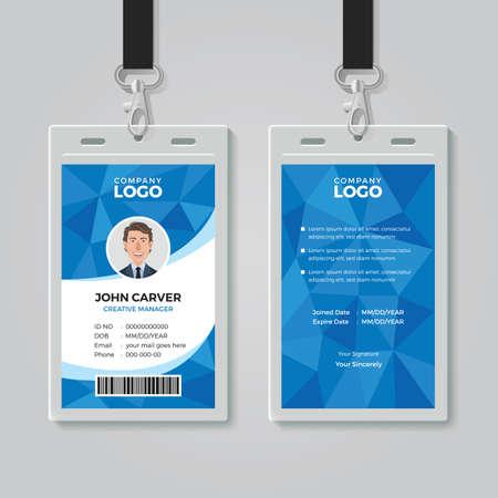 Illustration pour Blue Polygon Office ID Card Template - image libre de droit