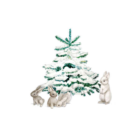 Illustration pour Watercolor Christmas Tree with bunny and snow. Minimalstic elegant Holiday Design Template. - image libre de droit