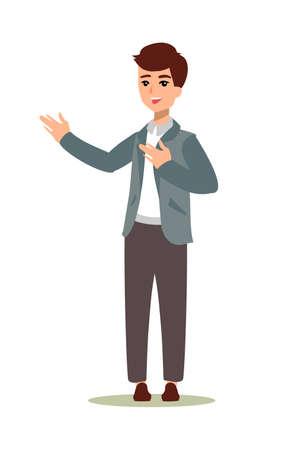 Illustration pour Animate character. Male personage constructor. Different man postures. Vector set personage. - image libre de droit