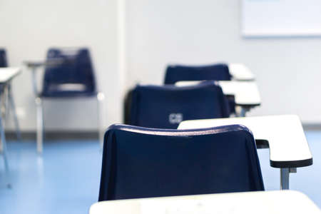 Thai lecture chairs and tables in classroom