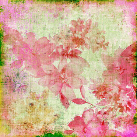 shabby paper with pink flowers