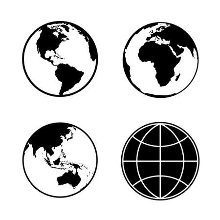 Illustration for Set of earth planet globe web and mobile icons. Vector. - Royalty Free Image