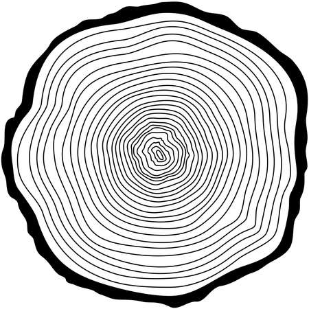 Tree rings. Saw cut tree trunk vector.
