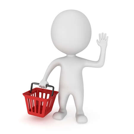 White man stand with red shop basket raised one's hand for greeting. 3d render isolated on white. Sales, market, shop concept.