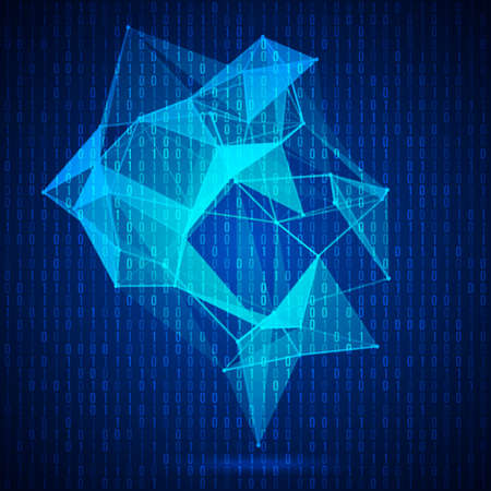 Wireframe mesh polygonal background with ones and zeros matrix. Abstract form with connected lines and dots. Vector illustration.