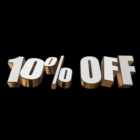 10 percent off 3d letters on black background