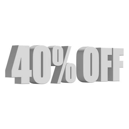 40 percent off 3d letters on white background