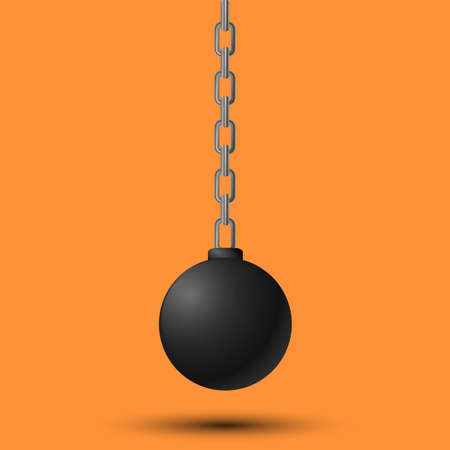 Illustration for Wrecking ball, Demolition sphere hanging on chains. - Royalty Free Image