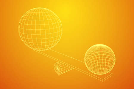 Simple seesaw scales weighing big and small abstract spheres. Balance, comparison and equality concept. . Wireframe low poly mesh vector illustration