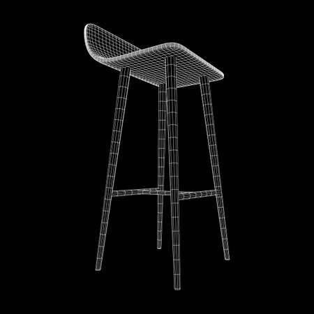 Illustration pour Bar stool furniture wireframe blueprint. Linear outline vector illustration. High chair. Bar interior design. - image libre de droit