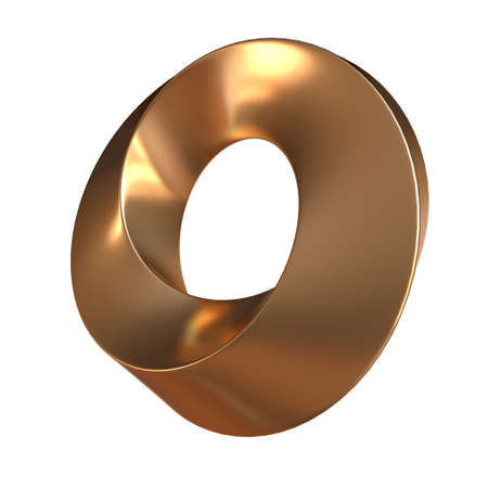 Photo for Mobius strip ring sacred geometry. Spatial figure with upturned surfaces. Optical illusion with dual circular contour. 3d render isolated on white - Royalty Free Image