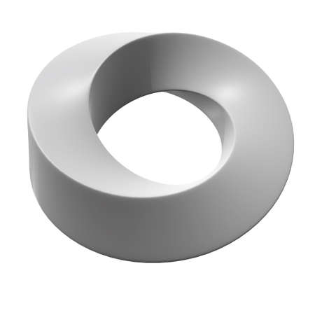 Photo for Mobius strip ring sacred geometry. Spatial figure with upturned surfaces. Optical illusion with dual circular contour. 3d render isolated on white background - Royalty Free Image