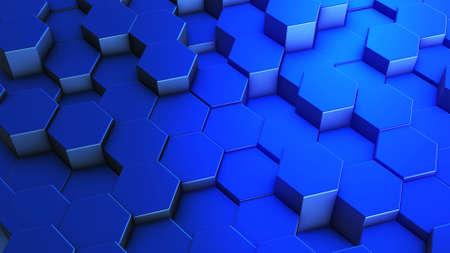Foto de Hexagons honeycomb background abstract science design. 3d render illustration - Imagen libre de derechos
