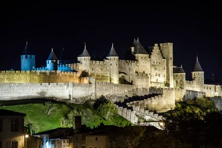 Carcassone medieval castle night view. Languedoc, France.