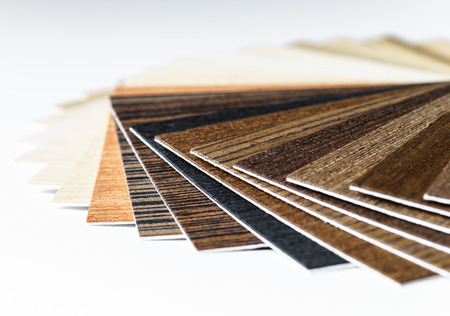 Thin wooden samples sheaf. Interior design industry.