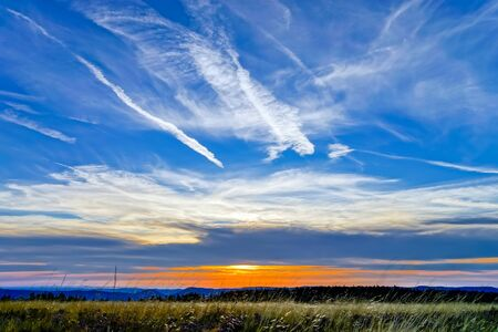 Beautiful sunset panoramic view, Alsace, Le Champ du Feu, France