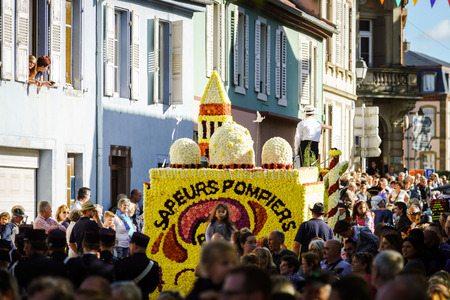 Editorial, 4 October 2015: Barr, France: Fete des Vendanges. Fancy-dress holiday and festival with orchestras and flowered carts