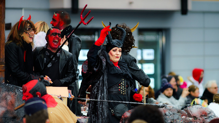 Editorial,14st February 2016: Selestat, France: Carnival and parade throught the streets. Fancy-dress spring holiday and festival.